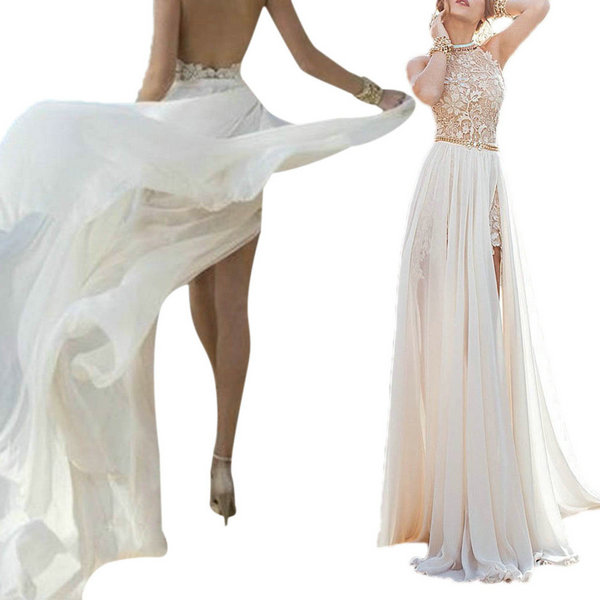 Women Bridesmaid Long Chiffon Lace Backless Dress Formal Party Ball Gown Prom
