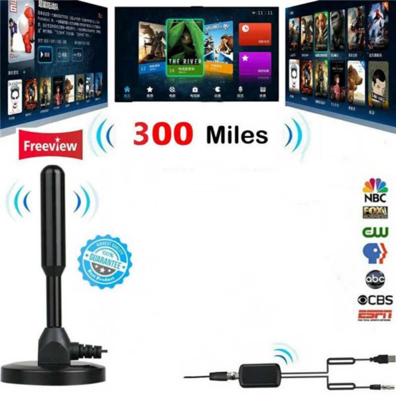 300 Miles Range HD 1080P Antenna TV Digital Skywire Indoor 4K 16ft Coax Cable US
