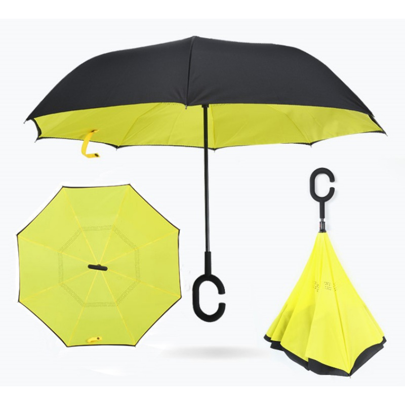 Clever c-shaped handle, inverted umbrella lets you use your phone in the rain