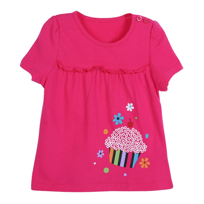 Lovely Baby Kids Child Girls Cotton Printed Short Sleeve