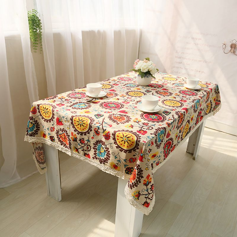 Wedding party home decor vintage cotton linen tablecloth Home decor dining table