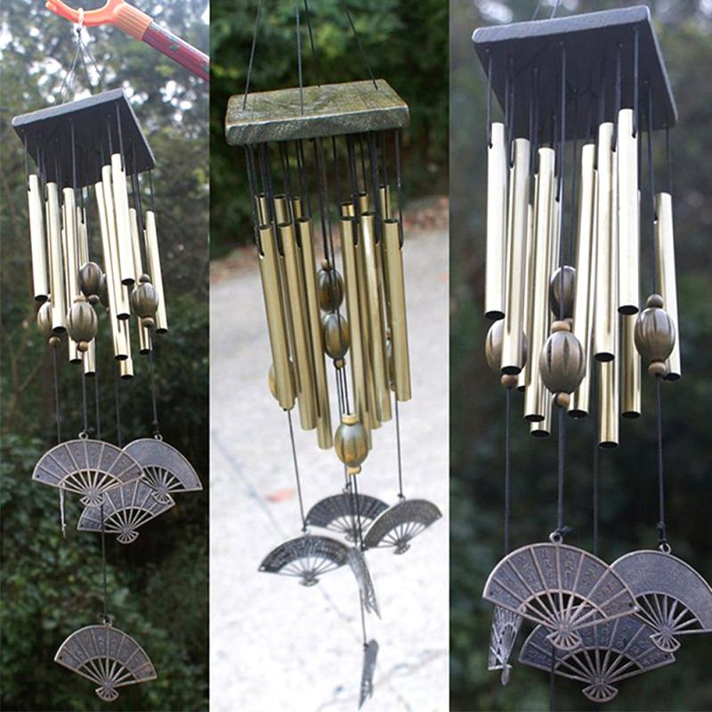 Copper hanging metal wind chime mobile outdoor ornament for Outdoor hanging ornaments