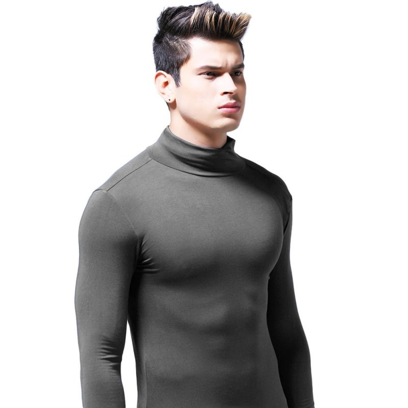 Mens Winter High Collar Long-Sleeve T-Shirt Male Comfortable Solid Warm Tops New