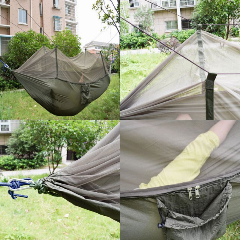 Us double person travel outdoor camping tent hanging for Net hammock bed