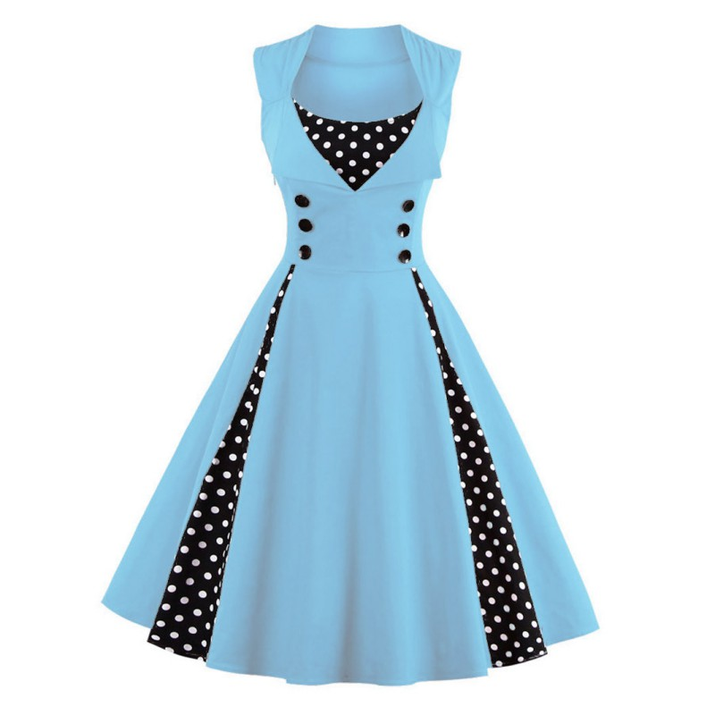 Women-Vintage-50s-Swing-Solid-RED-Polka-Dot-Pinup-Rockabilly-Evening-Party-Dress