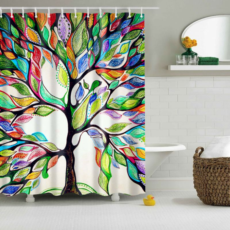 1x Waterproof Fabric Colorful Tree Pattern Bathroom Shower Curtain With 12 Hooks Ebay
