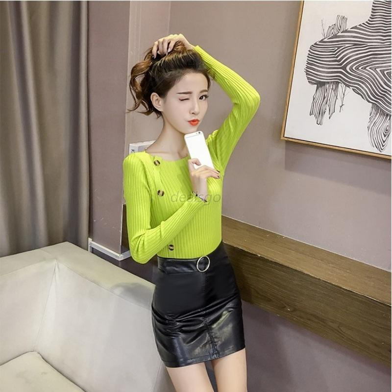 Womens-Long-Sleeve-Slim-Sweater-Jumper-Buttons-Tops-Work-Cotton-Blouse-4-Colors