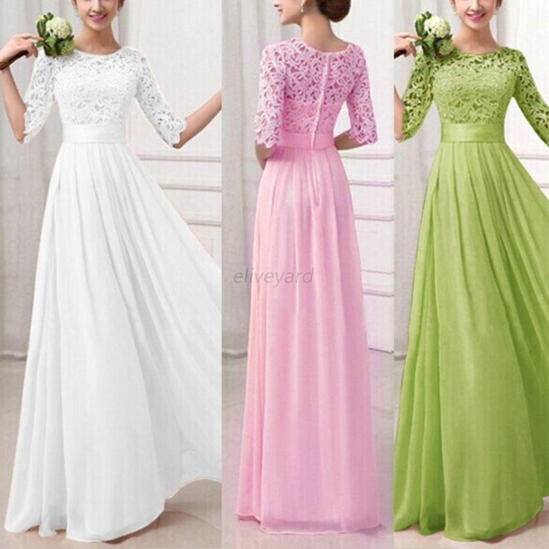Women Lady Formal Long Lace Dress Prom Evening Party Bridesmaid ...