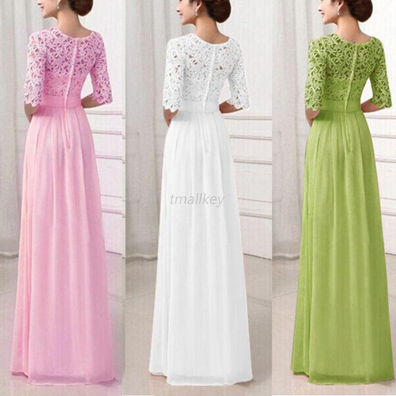 AU-Women-Lace-Maxi-Long-Dress-Formal-Evening-Party-Wedding-Bridesmaid-Gown-XXL