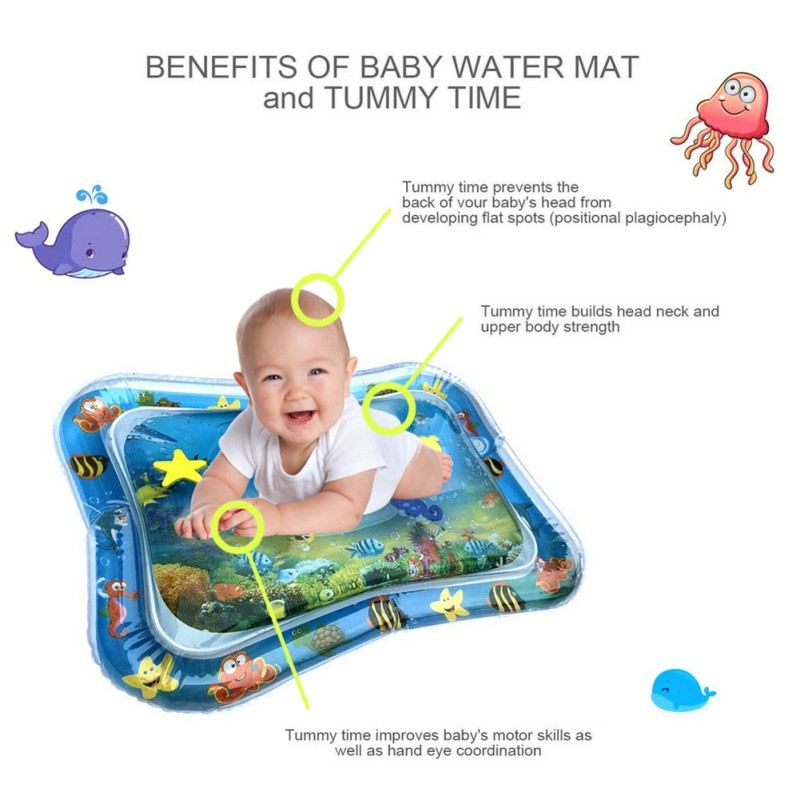 Inflatable Baby Water Mat Novelty Play for Kids Children Infants Tummy Time USA Rectangle