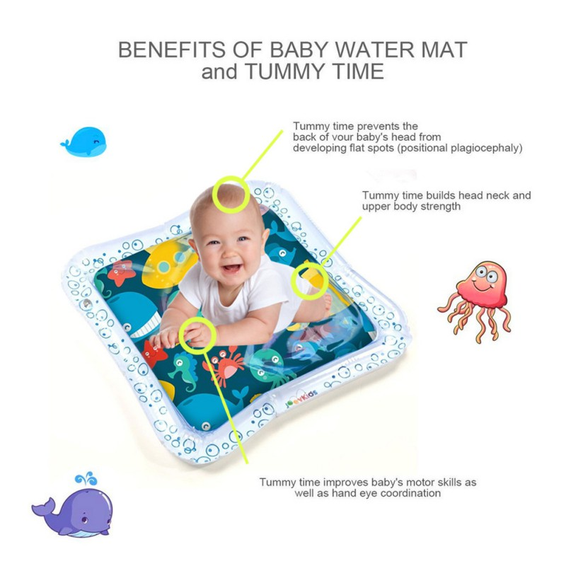 Inflatable Baby Water Mat Novelty Play for Kids Children Infants Tummy Time USA Square