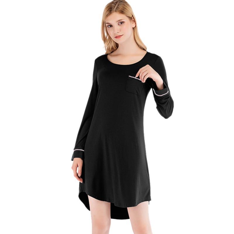 Women-Nightgown-Sleep-Shirt-Dress-Long-Sleeve-Pajama-Loose-Sleepwear-Nightshirt thumbnail 14
