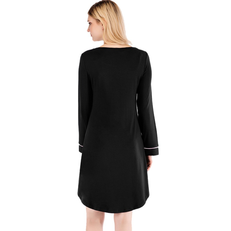Women-Nightgown-Sleep-Shirt-Dress-Long-Sleeve-Pajama-Loose-Sleepwear-Nightshirt thumbnail 13
