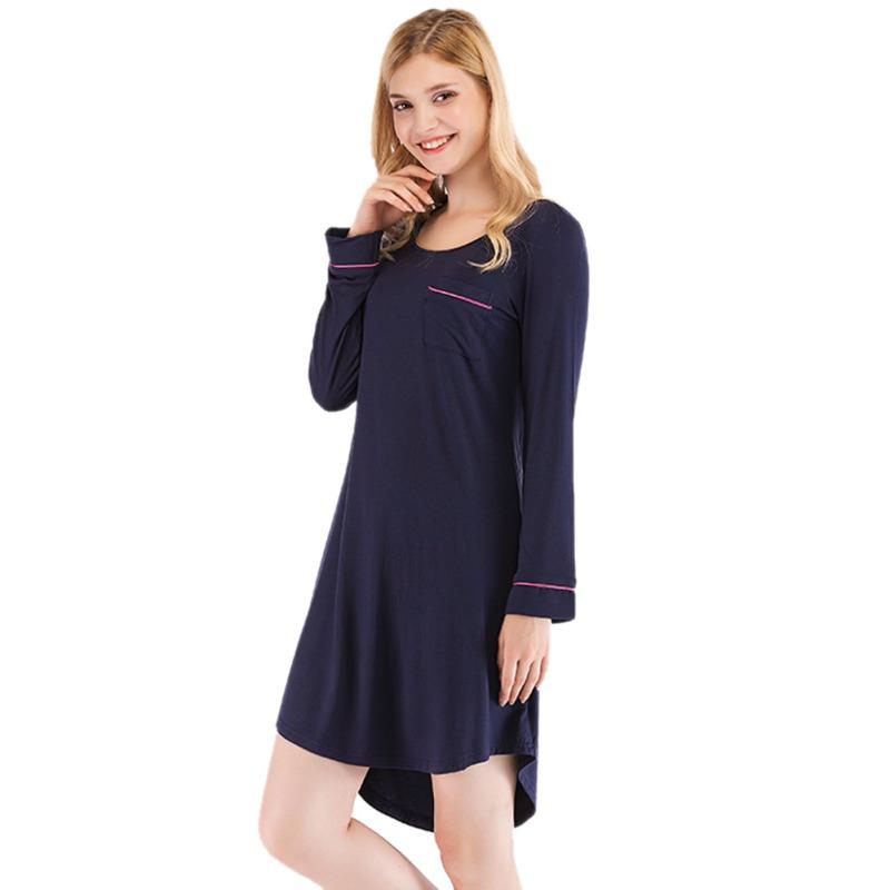 Women-Nightgown-Sleep-Shirt-Dress-Long-Sleeve-Pajama-Loose-Sleepwear-Nightshirt thumbnail 17