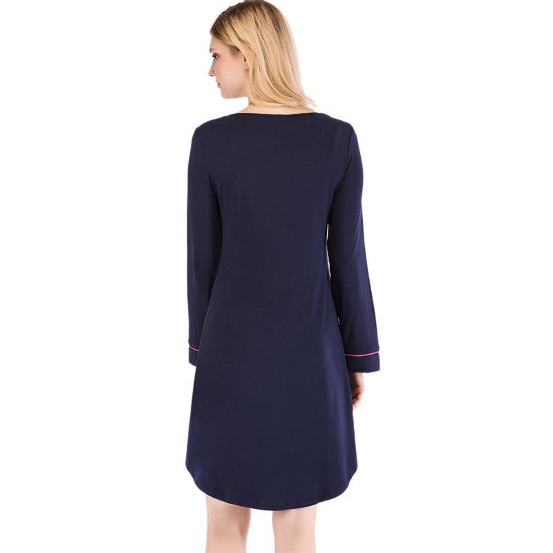 Women-Nightgown-Sleep-Shirt-Dress-Long-Sleeve-Pajama-Loose-Sleepwear-Nightshirt thumbnail 16