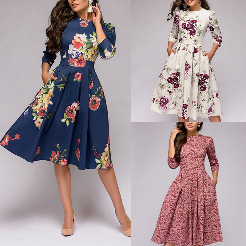 Spring-Summer-Vintage-Bohemian-Dress-Tunic-3-4-Sleeve-Floral-Dress-with-Pockets thumbnail 2