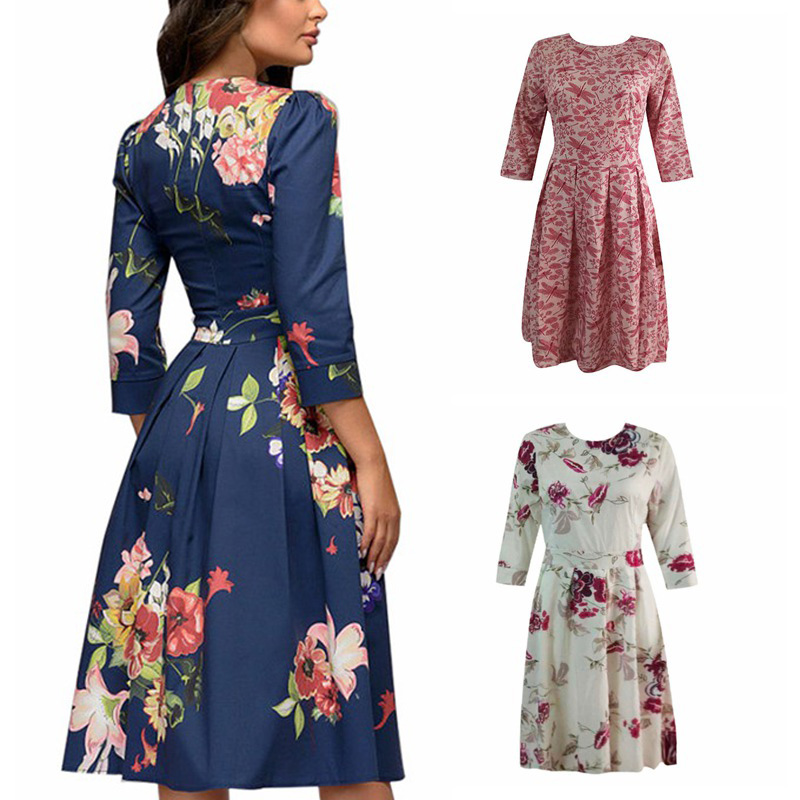 Spring-Summer-Vintage-Bohemian-Dress-Tunic-3-4-Sleeve-Floral-Dress-with-Pockets thumbnail 3