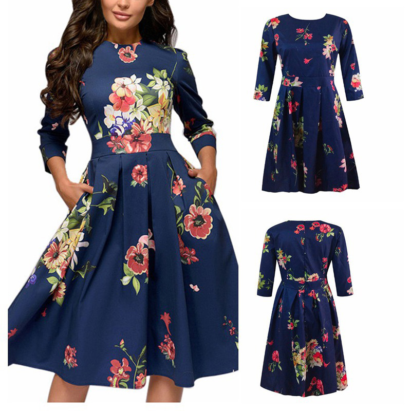 Spring-Summer-Vintage-Bohemian-Dress-Tunic-3-4-Sleeve-Floral-Dress-with-Pockets thumbnail 4