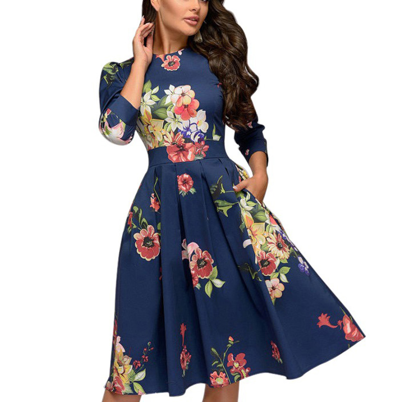 Spring-Summer-Vintage-Bohemian-Dress-Tunic-3-4-Sleeve-Floral-Dress-with-Pockets thumbnail 5