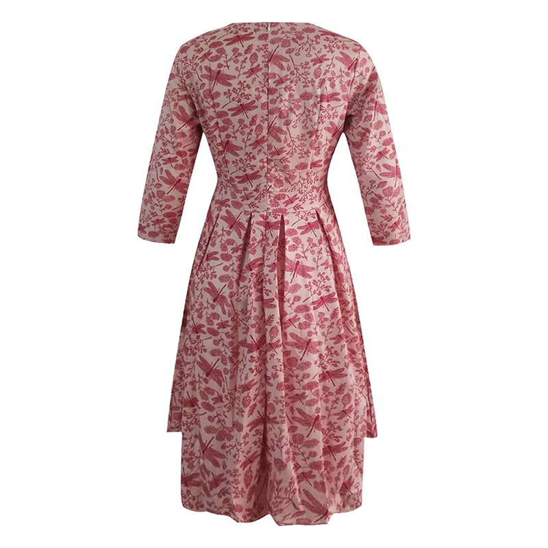 Spring-Summer-Vintage-Bohemian-Dress-Tunic-3-4-Sleeve-Floral-Dress-with-Pockets thumbnail 9