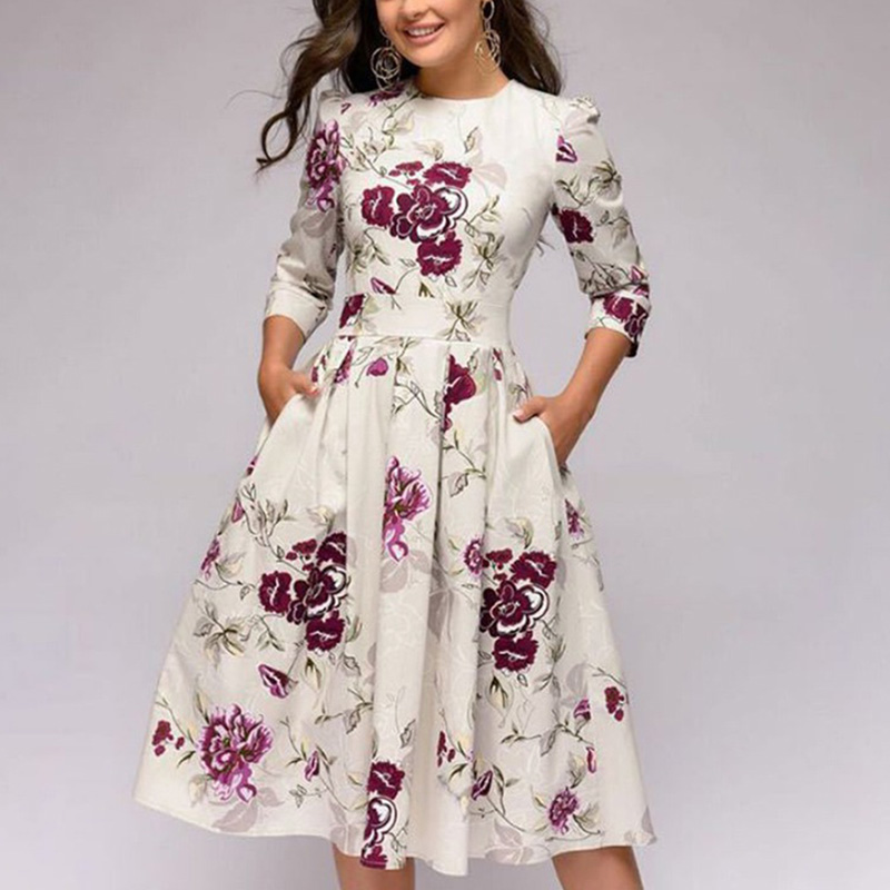 Spring-Summer-Vintage-Bohemian-Dress-Tunic-3-4-Sleeve-Floral-Dress-with-Pockets thumbnail 7