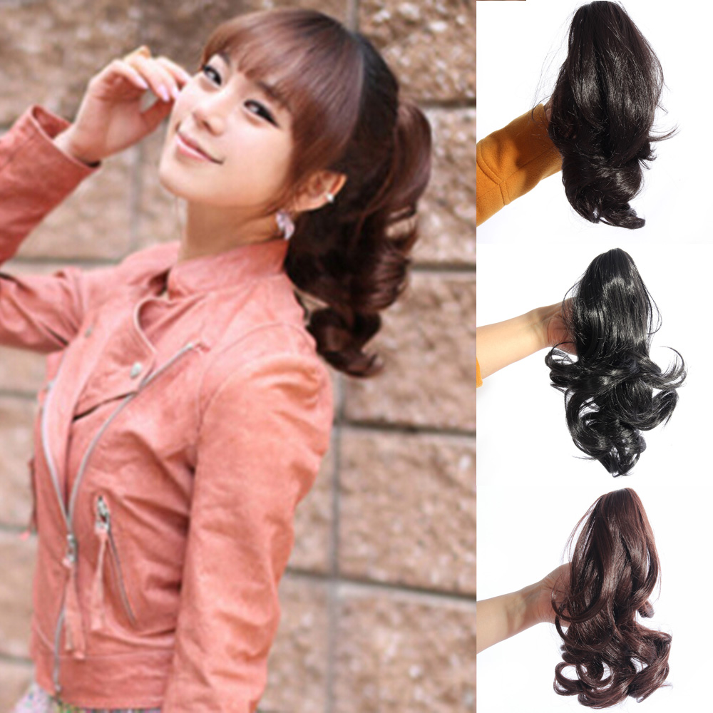 Superb Women Hairpiece Wavy Curly Claw Ponytail Clip On Short Short Hair Hairstyles For Men Maxibearus