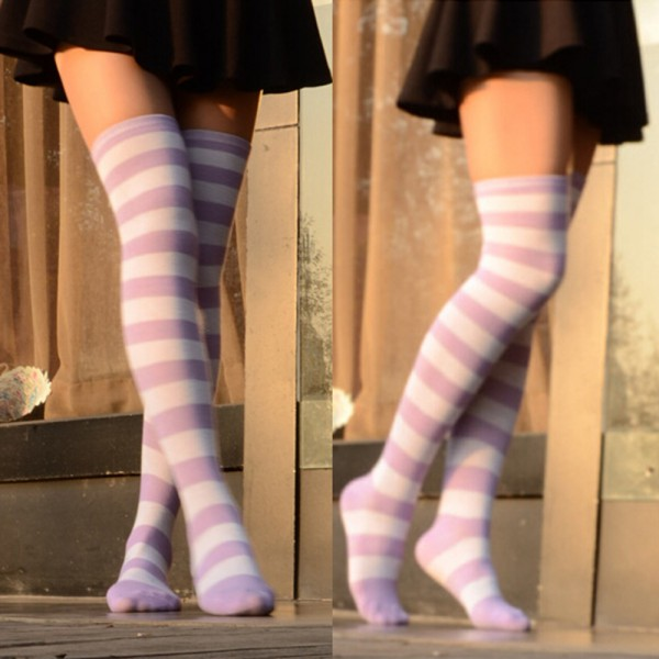 3d8cebb1b Sexy Women Girl Thigh High Striped Over the Knee Socks Cotton ...