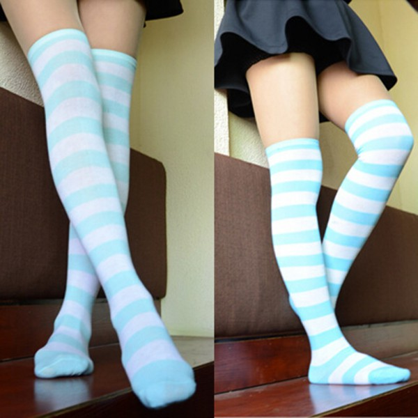 b1231aee9dbde Fashion Women's Cotton Socks Thigh High Striped Over the Knee Slim Leg  Stockings | eBay