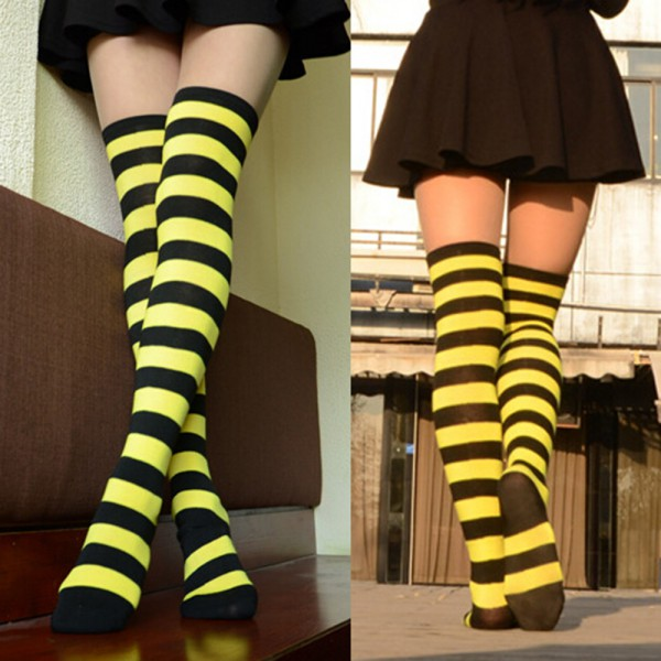 888c66a3c Fashion Women s Cotton Socks Thigh High Striped Over the Knee Slim Leg  Stockings