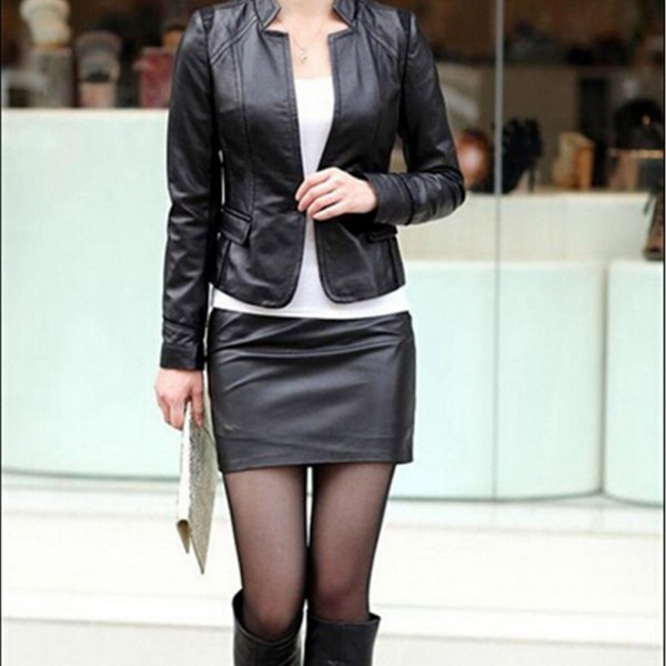 bb3aeb6a774 S-3XL Women Black PU Leather Skirt High Waist Tight Zip Stretch Mini ...