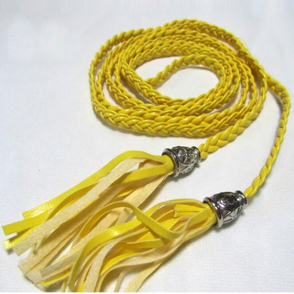 Multi-Color-Women-Lady-Bohemian-Braid-Leather-Waist-Belt-Band-Tassel-Accessories