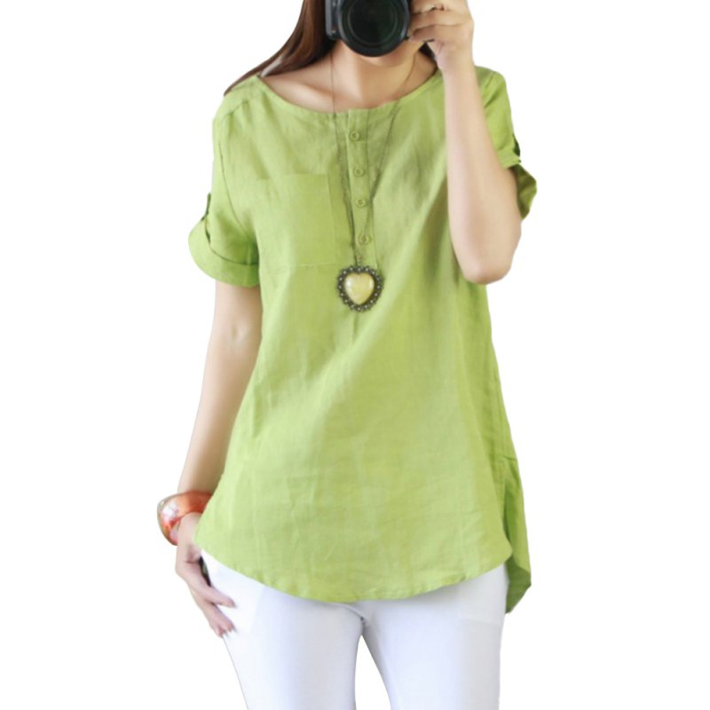 Fashion Women Summer Loose Casual Linen Short Sleeve Shirt ...