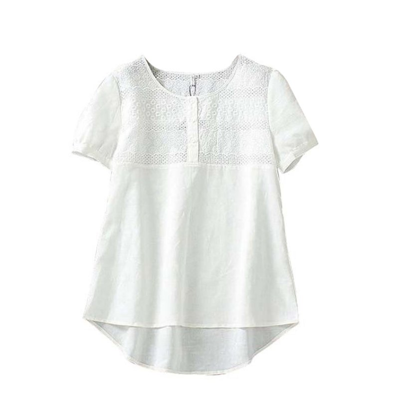 Womens cotton linen embroidery hollow out blouse short for Linen white shirt womens