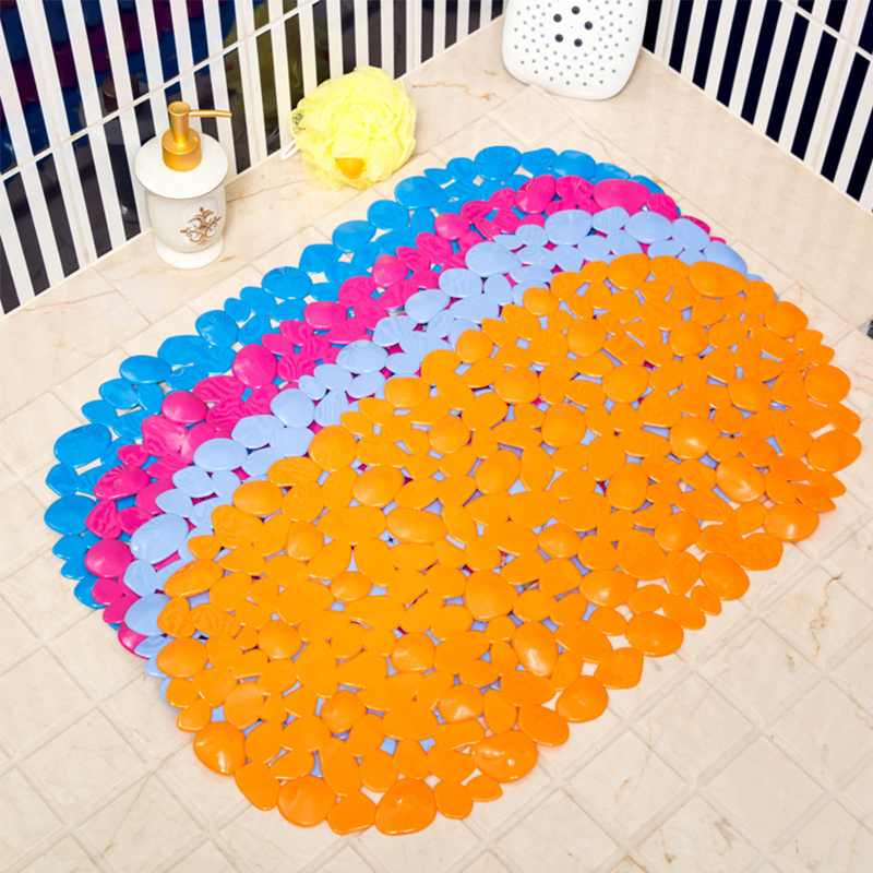 PVC Bathroom Suction Oval Cobblestone Pattern Non-slip Massa