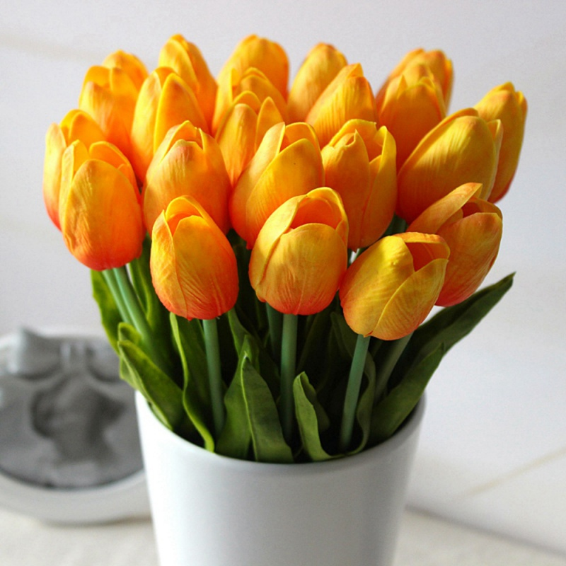 Artificial Silk Fake Tulip Flower Floral Basket Wedding Bouquet Party Home Decor  eBay