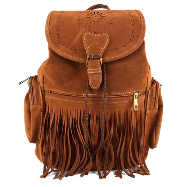 Women Celebrity Fringe Tassel Suede Shoulder Bag Satchel Backpack ...