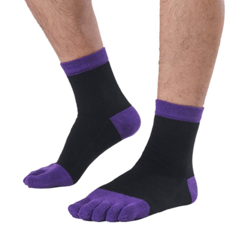 Mens Womens 5 Color Socks Unisex Cotton Toe Socks Five ...