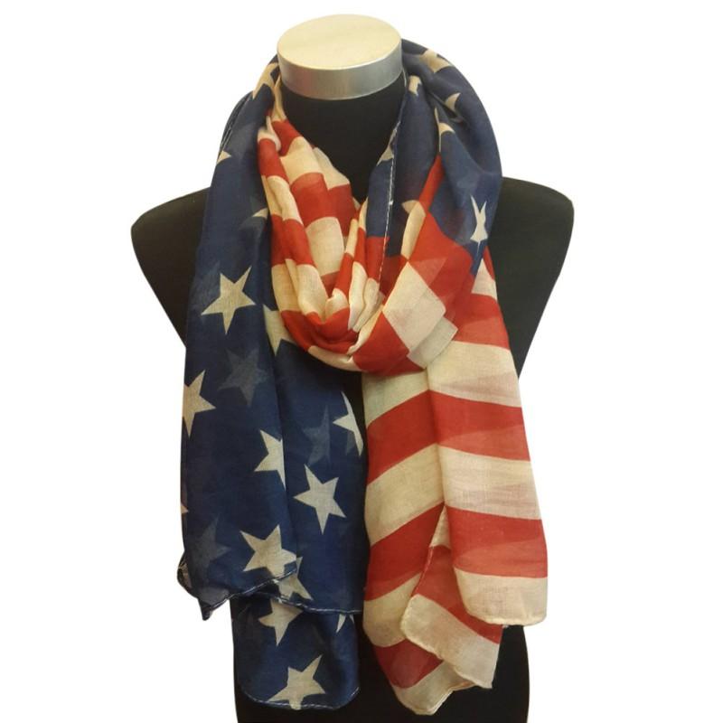 fashion usa flag printed scarf patriotic