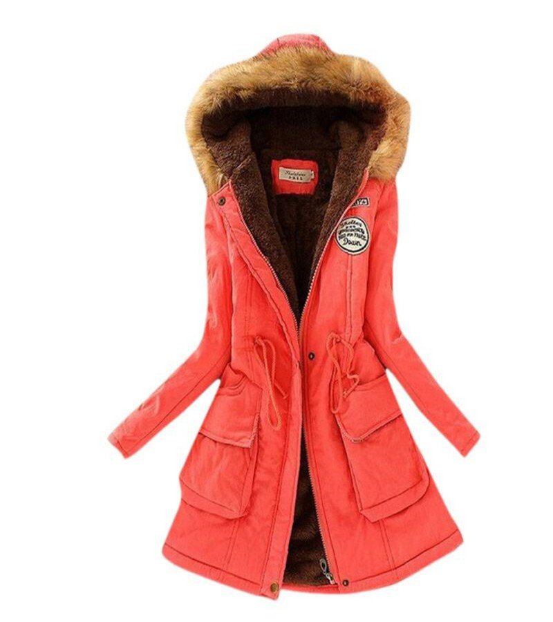Womens Warm Winter Hooded Quilted Jacket Long Coat Fur ...