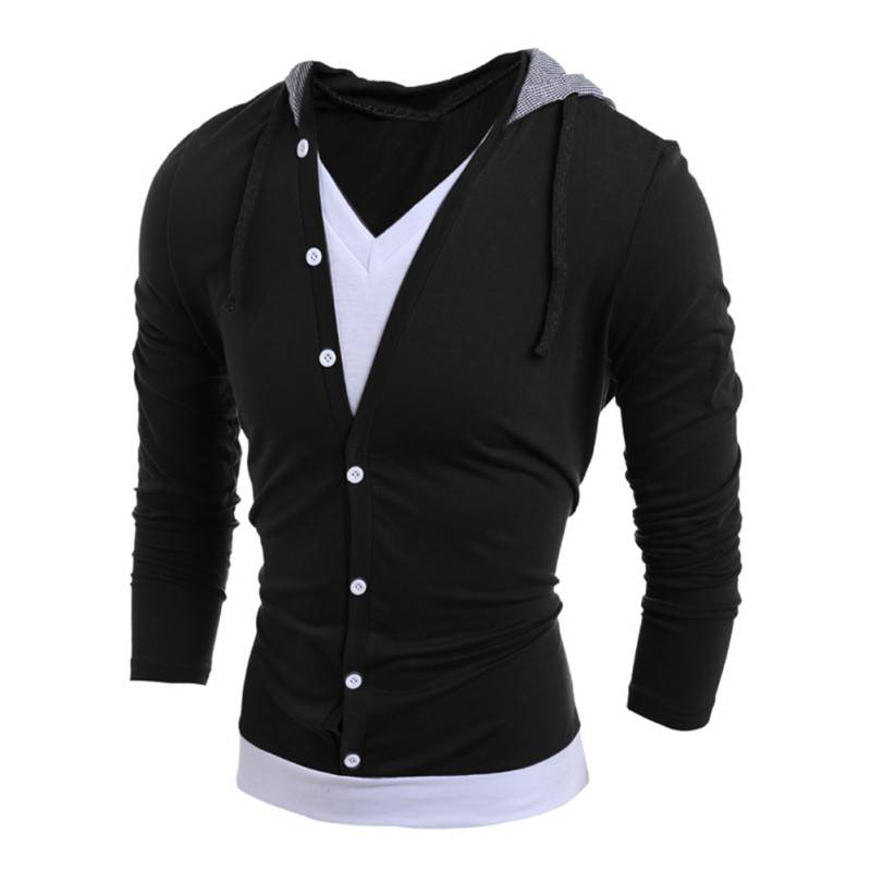 mens casual winter warm slim fit long sleeve v neck hoodie