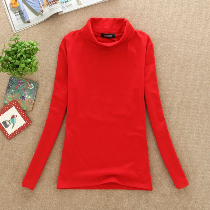 Women Long Sleeve Turtleneck Soft Cotton Stretchy T Shirt
