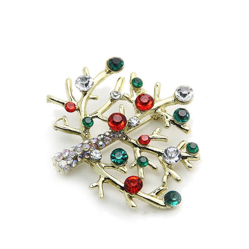 Christmas crystal rhinestone enamel brooch pin wedding