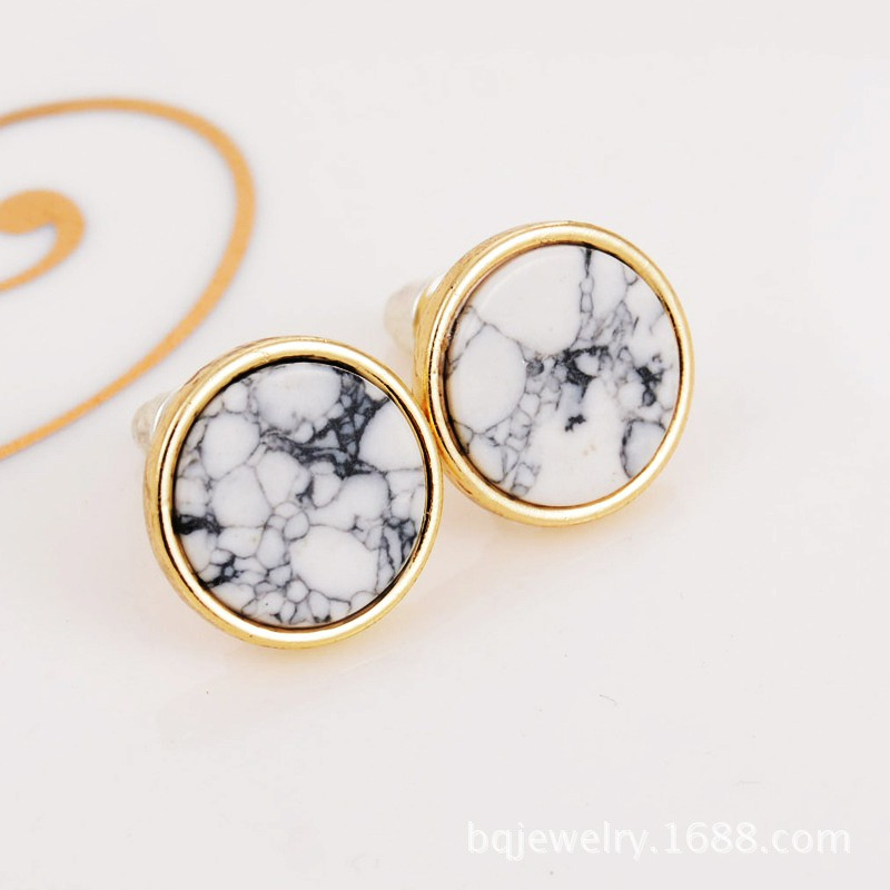 Women Square Triangle Round Geometric Marbled White Natural Stone Stud Earrings