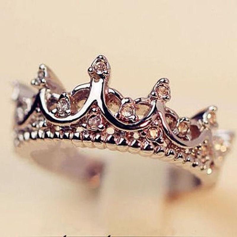 Fashion Princess Women Silver Rhinestone Crown Ring Size 7 8 9 New