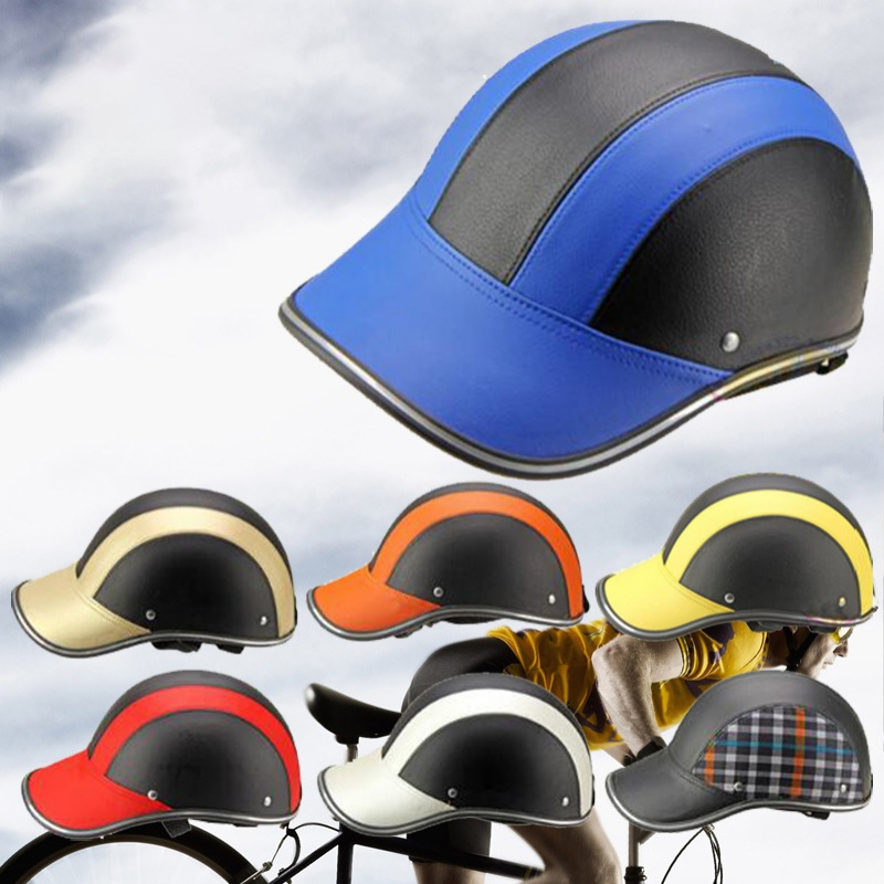 Black-Motorcycle-Bike-Safety-Half-Helmet-Baseball-Cap-Windproof-Leather-Hard-Hat