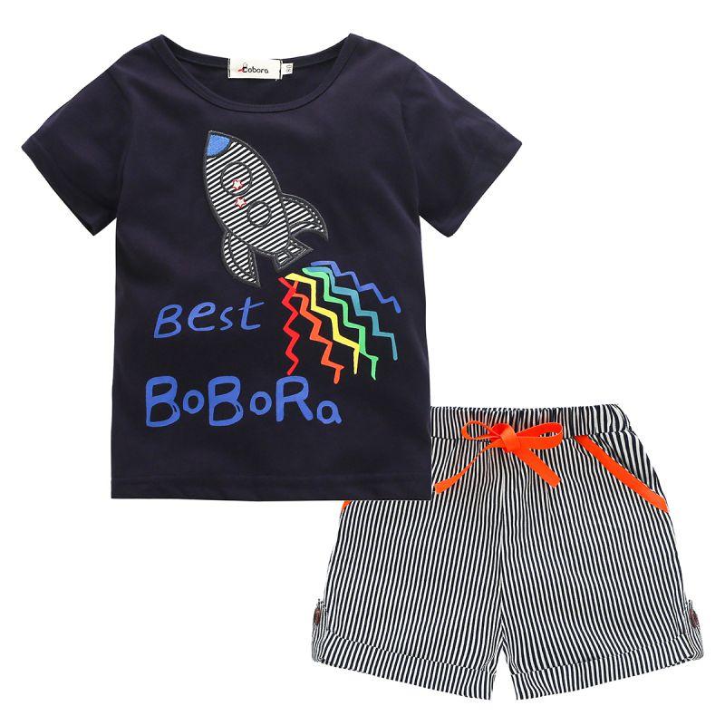 Toddler-Baby-Kid-Boy-Manga-Corta-Camiseta-Top-Shorts-Pantalones-Outfit-Set