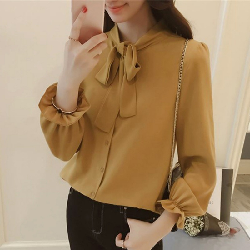 Women-Long-Sleeve-Blouse-Loose-Casual-BowKnot-Tie-Neck-Office-Lady-Shirt-Tops