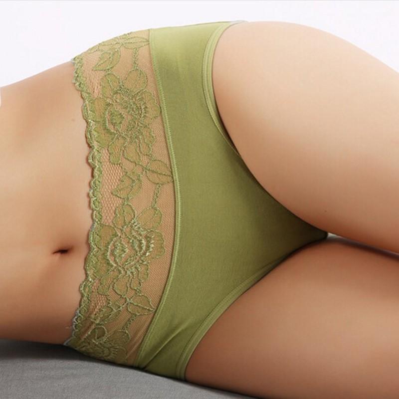 Soft Modal Underwear Lace High Waist Seamless Sexy Women Briefs ...