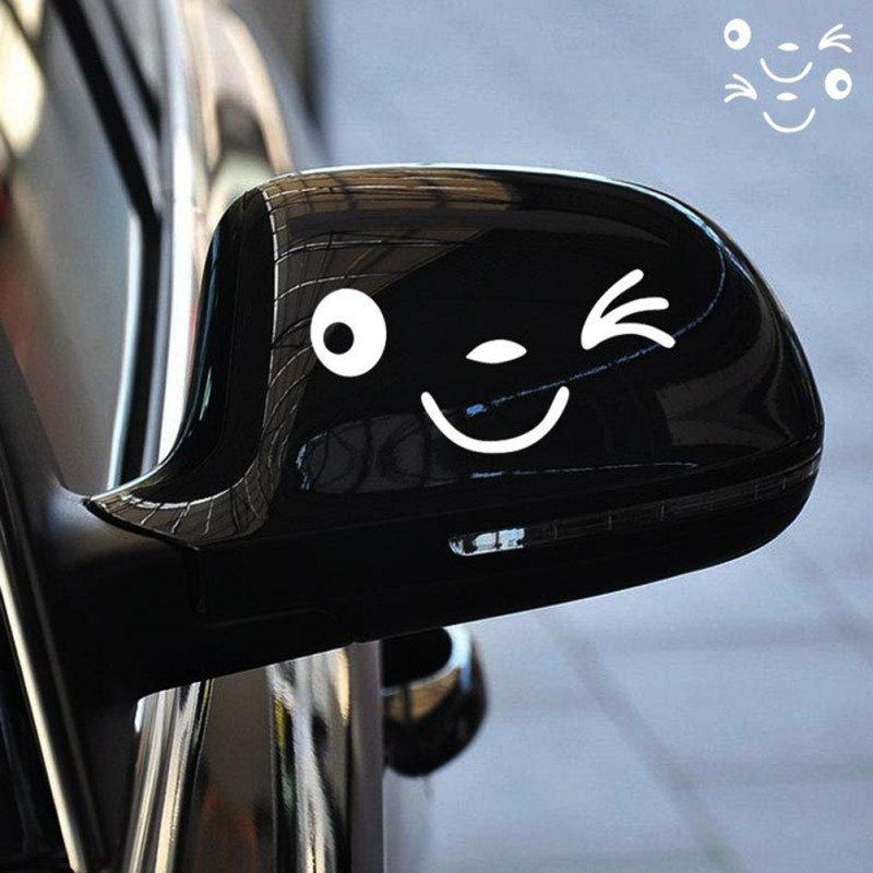 3D-Design-2Pcs-Black-Smile-Face-Decoration-Decal-Sticker-For-Car-Mirror-Rearview