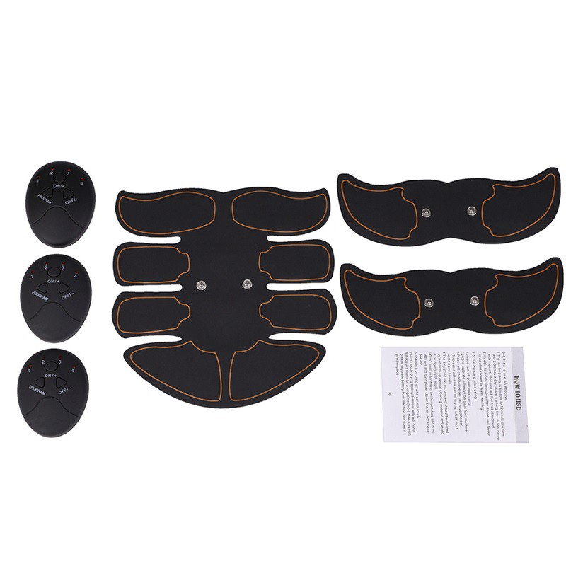 Black-Muscle-Stimulator-Training-Gear-ABS-Trainer-Six-Pads-Body-EMS-Exercise-US thumbnail 3